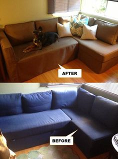 "Custom Ikea Fagelbo sofabed slipcovers by Comfort Works | Kino Fabric - Pet Friendly | Slipcovers in Real Homes | Before & After  For free fabric samples visit www.comfort-works.com  Testimonial: ""Comfort Works Love my new slipcover for my very sun faded IKEA Fagelbo sofa!! I chose KINO Taupe for the fabric due to it's durability since we have kids and a dog  Comfort Works has excellent customer service and I received my slipcover so quickly!! Invoice # 10010296A- Lynn Mladjov"""