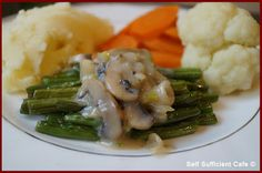 Self sufficient cafe is about changing my lifestyle to fulfill my passions including my transition from vegetarian to vegan. Lots of vegan recipes. Creamy Mushroom Sauce, Creamy Mushrooms, Stuffed Mushrooms, Self Sufficient, Asparagus, Green Beans, Food To Make, Tuesday, Vegan Recipes