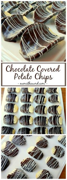 Chocolate Covered Potato Chips - This tasty treat is easy to make and will be hard to keep on hand. Chocolate Covered Potato Chips is a family favorite and super easy to make! A great gift! Mini Desserts, Easy Desserts, Delicious Desserts, Dessert Recipes, Yummy Food, Gourmet Desserts, Gourmet Chocolates, Gourmet Appetizers, Plated Desserts