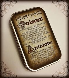 I bought this old-timey sodium cyanide apothecary labelled tin on Etsy and I love it! I keep pharmaceuticals to treat studying-too-hard headaches and looking-at-the-screen-too-long nausea.