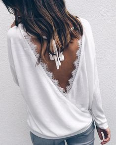 Women Lace Backless Blouse O-neck Long Sleeve Casual Loose Top Tee Shirt Dentelle, Stylish Outfits, Fashion Outfits, Cheap Fashion, Fall Fashion, Fashion Women, Style Fashion, Backless Shirt, Loose Tops