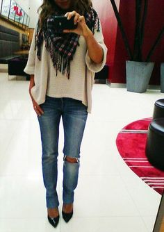 Skinny Jeans, Pointy Pumps, Over Sized Sweater & Scarf