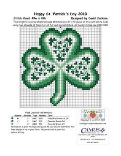 Free Cross Stitch Pattern - Irish shamrock