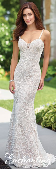 Enchanting by Mon Cheri Spring 2017 Wedding Gown Collection - Style No. 117179 - sleeveless lace fit and flare wedding dress with low dipped back and crisscross straps