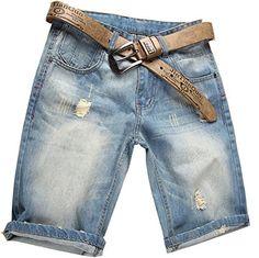Valuker Mens Slim Fit Denim Short Jeans Light Blue >>> Click image for more details.