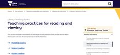 This government website provides overviews and examples of practices in teaching reading such as modelled and guided reading. It features explanations, theories and lesson plans