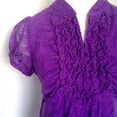 BOGO FREEPurple Lace Tie Back Blouse XL Medium New no tags. Vibrant bold purple. So pretty!! This is juniors size XL. Fits women's medium. Tie back. Lined. Stunning! HeartSoul Tops Blouses