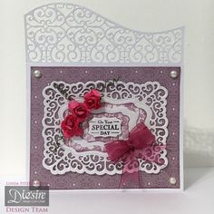 Linda Fitzsimmons - Downton Abbey Classical Edge die - Downton Abbey Ornate Rectangle Frame - Downton Abbey 6x6 paper pad - Downton Abbey sentiment stamp, pearls & roses - Centura Pearl - Ribbon - Collall All Purpose Glue, Tacky Glue, 3d Glue Gel - #crafterscompanion #DowntonAbbey