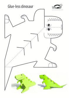 Glue-Lee printable dinosaur - Kinder Basteln - crafts home Kids Crafts, Preschool Crafts, Projects For Kids, Diy For Kids, Art Projects, Arts And Crafts, Wood Crafts, House Projects, Craft Kids