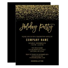 Black Gold Party Modern Black Gold Faux Glitter Holiday Party Invitation - Glamorous black and gold faux glitter holiday party invitations. Designs are flat printed illustrations/graphics - NOT ACTUAL GOLD. Personalised Party Invitations, Bat Mitzvah Invitations, Christmas Party Invitations, Christmas Stationery, Black And Gold Invitations, Elegant Invitations, Gala Invitation, Wedding Invitations, Invites