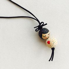 Lovely Wooden Doll Necklace Hand Painted Modern by MarcelaHomrich