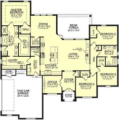 The wonderful 4 bedroom bath home design features high ceilings, open layout. The wonderful 4 bedroom bath home design features high ceilings, open layout and large rear porch. Open House Plans, Dream House Plans, House Floor Plans, 2200 Sq Ft House Plans, Floor Plan 4 Bedroom, 4 Bedroom House Plans, European Plan, European House, European Style