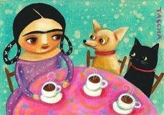 Frida Kahlo Tea Time chihuahua and cat PRINT from Tascha by tascha