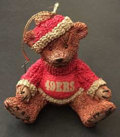 San Francisco 49ers Teddy Bear Ornament Football Fan Sports Holiday  Christmas 36bdbd02d