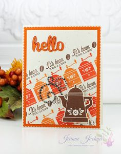 Fall Coffee Lovers Blog Hop - It's Bean Too Long!m #waltzingmouse, #coffee Hello It, Autumn Coffee, Coffee Set, Cocoa, Coffee Lovers, Beans, Paper Crafts, My Favorite Things, Stamps