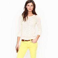 Neutral Sweater + Bright Jeans + Belt