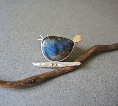 Blue Bird of Happiness brooch, labradorite, stick pearl, sterling,14kt gold, by betsy bensen
