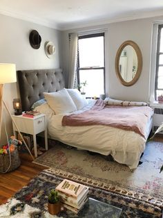 A Studio Goes from Work to Weekend Thanks to a Fold-Down Desk and Fire Escape Nyc Studio Apartments, Studio Apartment Layout, Small Apartment Interior, Small Apartment Living, Studio Apartment Decorating, Tiny Apartments, Apartment Therapy, Apartment Ideas, Living Room Photos