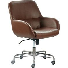 New Finch Forester Luxury Bonded Leather Home Office Chair, Modern Round Swivel Accent Seating, Adjustable Height, Cognac Brown online shopping - Annetrendyfashion High Back Office Chair, Home Office Chairs, Bedroom Office, Brown Furniture, Find Furniture, Upholstered Desk Chair, Chair Upholstery, Chair Cushions, Thing 1