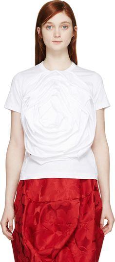 COMME DES GARÇONS White Rosette T-Shirt. #commedesgarçons #cloth #t-shirt