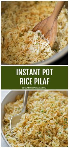 Instant Pot Rice Pilaf – Life Made Simple Tender, flavorful pilaf made in the Instant Pot. It doesn't get any easier than this! Simply add the ingredients and let the pressure cooker do the rest. Side Dishes For Chicken, Rice Side Dishes, Side Dishes Easy, Easy Rice Recipes, Side Dish Recipes, Dishes Recipes, Delicious Recipes, Healthy Recipes, Instant Pot Pressure Cooker