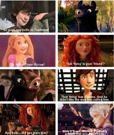 Rapunzel, Merida, Jack, Hiccup and Toothless >>>>> awwww, Merida! why would you say that?!?!?!? lol Jack