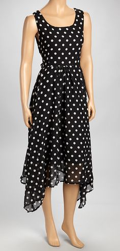 Black White Polka Dot Handkerchief Dress