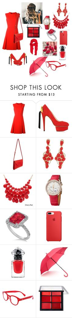 """Go red!!!!》》》"" by eliza-heffly ❤ liked on Polyvore featuring Giambattista Valli, Charlotte Olympia, Valextra, Alexa Starr, Hermès, Allurez, Guerlain, Hunter, See Concept and MANGO"