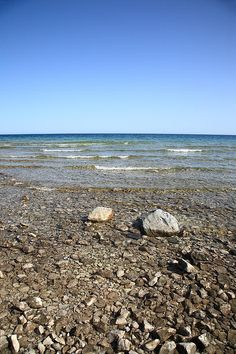 Lake Huron in Michigan. A Great Lake with a rocky shoreline.