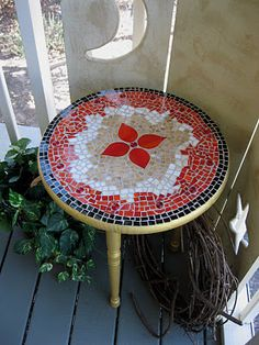 Mosaic table with glass tiles