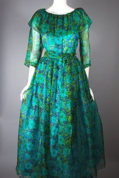 Vintage Dresses Blue floral silk dress hostess gown Bonnie Cashin for Dorian - Floral silk gown dress Bonnie Cashin designer modest dressing Long Gown Dress, Frock Dress, Dress Skirt, Frock Fashion, Fashion Dresses, Women's Fashion, Fashion 2020, Fashion Styles, Fashion Online