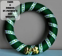 St Patrick's Day Crafts - Yarn Wreath - Just Us Four