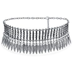 Bling Jewelry Bling Jewelry Rhodium Plated Alloy Indian Style Dangling... (235 ARS) ❤ liked on Polyvore featuring jewelry, necklaces, grey, chain choker, leaf necklace, choker necklace, leaves necklace and adjustable chain necklace