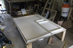 Building the forms for our DIY Concrete Countertops.