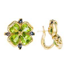 CHANEL Peridot Sapphire Ear Clips ~ jewelry.1stdibs.com