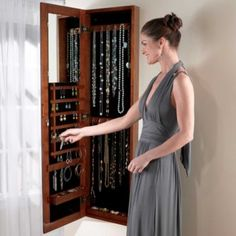 Neeeeeeeed this! Mirrored Wall Mounted Jewelry Armoire - Storage for Small Spaces - storage idea