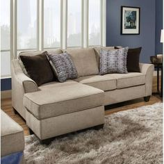 nailhead couch with reversible chaise Sleeper Sectional, Modern Sectional, Chaise Sofa, Small Sectional, Leather Sectional, Family Room Furniture, Apartment Furniture, Apartment Ideas, Den Furniture