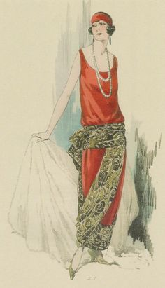 Cashmere evening gown and skirt with  wide belt forming a large bow at the   back - Dernières Créations - c. 1923
