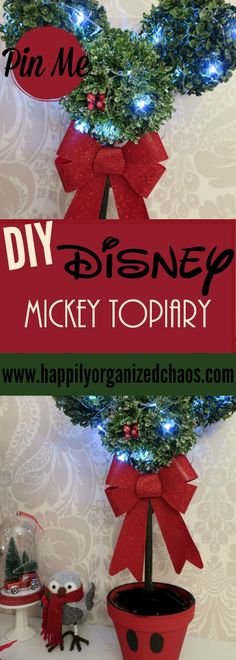 This #disney DIY Mickey Topiary was inspired by the one from Lowe's. Want it but working with a budget? Check out my post- this is also a collab with Diana from @beingmommywithstyle, check out here #Magicband wreath!!