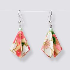 Origami Flower Drop Earrings - HZ412 Dangly Earrings, Flower Earrings, Drop Earrings, Origami Artist, Origami Flowers, Japanese Paper, Blooming Flowers, Handmade Accessories, Great Gifts