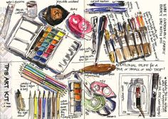 ok... getting to some really fun stuff now... this was a useful page to do as it has forced me to find some of this stuff (my study/studio is in sewing room havoc mode at the moment..) I also filled my wonderful Visconti travelling ink pot and extra  Art Supplies
