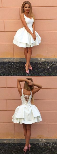 Fashion Ball Gown V-Neck Criss Cross Tiered White Short Homecoming Dress
