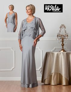 649ce720391 Mother of the Bride Groom Stylish Ursula of Switzerland 61362 Stretch lace  and silky chiffon