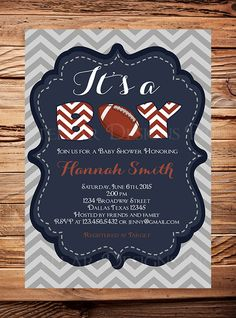 Football Baby Shower Invitation BOY It's a by StellarDesignsPro