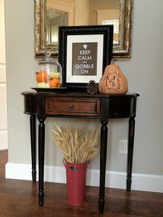 Love the bucket under the table with the dried wheat in it. Hallway Decorating, Entryway Decor, Decorating Your Home, Entryway Ideas, Fall Decorating, Thanksgiving Decorations, Seasonal Decor, Table Decorations, Holiday Fun