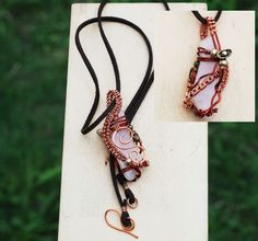 Love Stone Rose Quartz Bar Wire Wrap Spiral Swirl 2 Way Artisan Pendant Necklace #Jeanninehandmade #Wrap