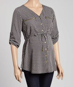 Look at this #zulilyfind! Black & White Diamond Maternity Button-Up Top - Women #zulilyfinds