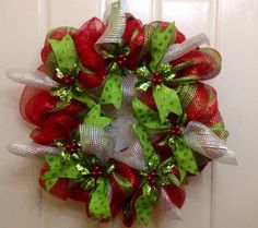 mesh ribbon wreaths | Handmade Christmas Deco Mesh & Ribbon Wreath on Etsy, $35.00