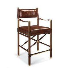 """Borneo Campaign Counter Height Bar Stool (25-3/4""""H seat)"""