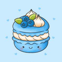 Cute macaroon with blueberry whip cream dessert hand drawn cartoon character. - Cute macaroon with blueberry whip cream dessert hand drawn cartoon character. Cute Food Drawings, Cute Little Drawings, Cute Cartoon Drawings, Cute Kawaii Drawings, Food Drawing Easy, Stickers Kawaii, Cute Stickers, Kawaii Doodles, Cute Doodles